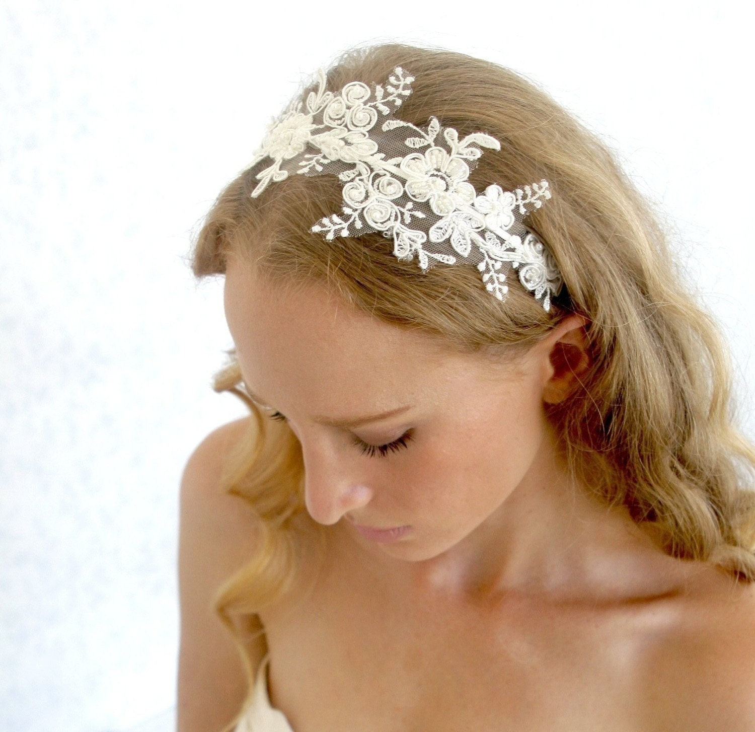 Wedding Headpieces For Bride: Lace Headpiece Bridal Ivory Beaded Lace With Pearls Wedding
