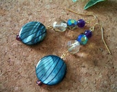 Beach Baby Earrings, blue striped lentil shell crystal glass smoke amethyst gold wire pierced beach ocean purple black