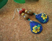 Blue Jean Daisy Earrings / Reserved for Kathryn H