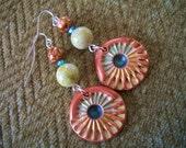 Celestial Shell Earrings / gemstone peridot green jasper glass ladies clay handmade pierced silver wire