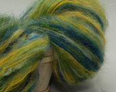 Handpainted brushed mohair yarn - 210 yards - Blue, green, turquoise, yellow
