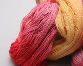 70 Baby alpaca / 30 silk handpainted lace yarn - 875 yards - Red, pink, yellow