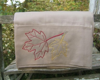 Red maple pillowcase- hand stitched