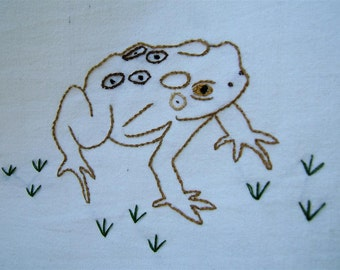 American toad tea towel- hand stitched