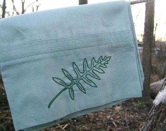 Fern frond King Sized Pillowcase- hand stitched