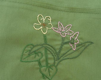 Hand embroidered woodland wildflower pillowcase