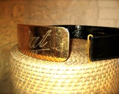 Vintage Gold and Leather Belt, Size Small