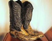 RESERVED   Python Cowboy Boots - Dirty Taupe Snake - Black Leather - Men 8.5 - Women 10