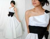 Classic White Black Strapless Dress - Prom Formal - Mike Benet -  4