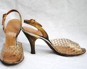 Clear and Gold Netting High Heel Peep Toe Sandals - Bronze - 1940s Slingback  - 5.5
