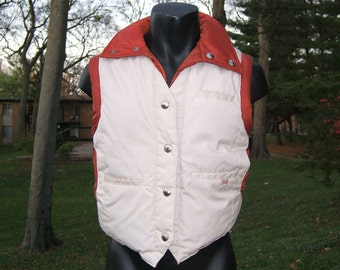 1970s Puffy Puffer Down Vest - Rust Tan - SKI DADDLE -Small  Medium