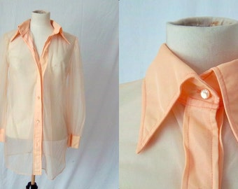 MARY QUANT Sheer Peach Blouse - 1960s - Collectible Designer - Small