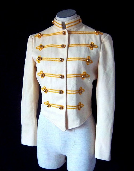 vintage marching band military jacket women cream gold
