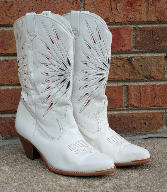 white cowboy boots cowgirl dingo vintage 1980s inlay