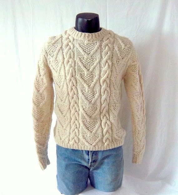 RESERVED Fisherman Cable Knit Sweater - Toasty Warm Cream Wool - Men Small Medium