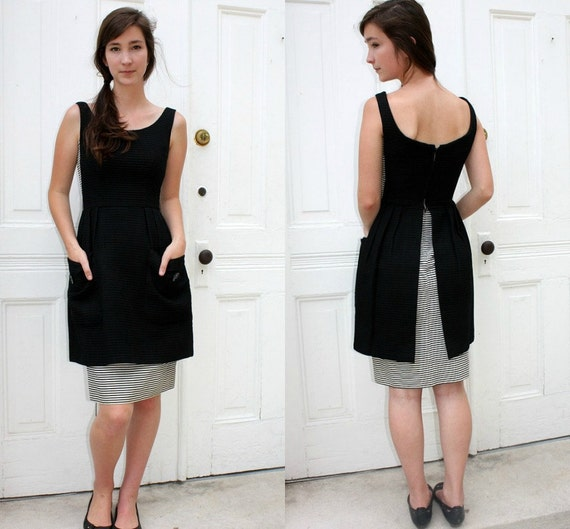 black white stripe pencil skirt peplum dress 1950s by