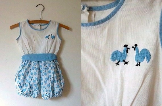 Saks Fifth Avenue Bubble Play Suit - Rooster Chicken - Wedgewood Blue - Vintage 1960s - 3T 4T