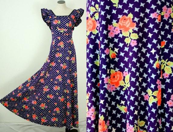 1970s Purple Stars Maxi Dress - Coral Flower Power - Empire Waist -  XS