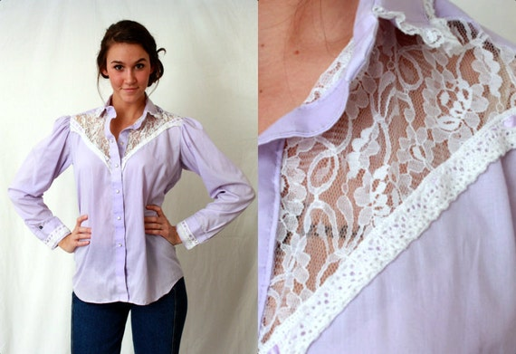 Rockmount Lilac Lace Pearl Snap - Shirt Blouse - Western Rodeo Cowgirl - Puff Sleeves - Medium