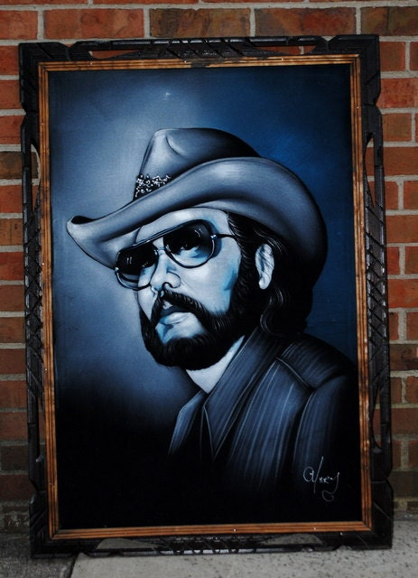Black Velvet Hank Williams Jr Painting Roadside Art Large