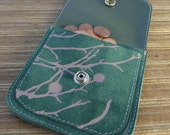 Green wallet with pink branches