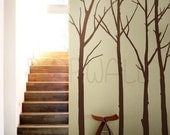 Vinyl Wall Art Sticker Decal - Winter Tree - set of 4 trees with 10 FREE FLYING BIRDS - 084