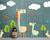 Kids Wall Decal Wall Sticker - Horse wall decal with Animal Growth Charts- 038