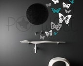 Butterflies set of 13 in 3 colors vinyl wall sticker decal - 025