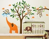 Tree, children, nursery, kid, branch - Monkeys & elephant Wall decal Wall sticker- home decor  105