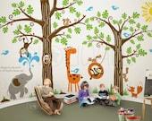 Wall Decals Wall Sticker, children , kids, animal, decal wall, Tree Wall Decal Wall Sticker 107