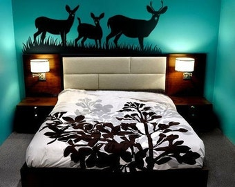 FREE SHIPPING- Deers Wall Decal ,Animal ,Bedroom wall decal, Wall decor Home deocr-  032