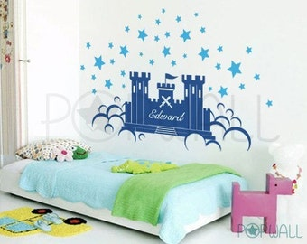 Kids Vinyl Wall Sticker Decal Art - Prince Castle with Name - 065
