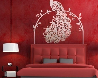 Peacock Wall Decal, lving room , vines, bedroom  ,bird wall decal,  Wall Sticker, home decor ,wall design - 052