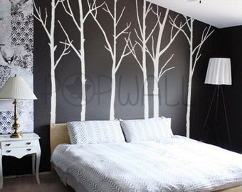 Vinyl Wall Decal Wall Sticker Tree Decal Art - Winter Trees - set of 6 trees - 036