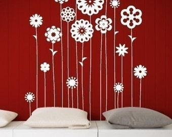Flower Paradise Wall Decal, Living Room Wall decals Wall Sticker Vinyl Art, wall Graphic  -044