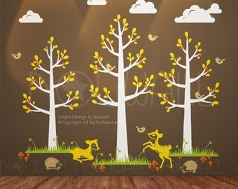Animal wall decal - Girl,  Boy ,Nursery wall decal  - The Story of The Great Forest tree ,deer wall sticker -  097