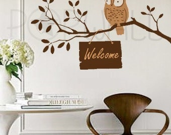 Owl Wall Decal on Tree Branch Wall decals Wall sticker Art  ,Wall decor - 092