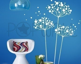 Dandelion Wall Decal, Living Room Nature, Removable Vinyl Wall Decal Wall Sticker Wall Art,  -  017