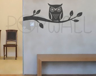 owl wall decal branch wall decals wall sticker vinyl art wall design 047 - Wall Design Decals
