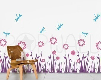Grass Land with Flowers Wall Decal and Dragonflies Wall Decal Wall Sticker  Art ,Wall Graphic 077