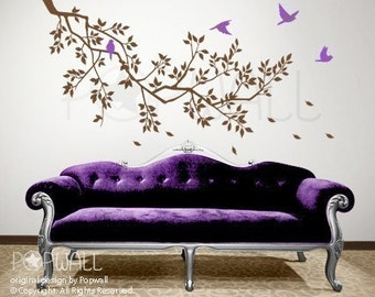 vinyl wall sticker decal - Spring Branch and Flying Birds decal - 071