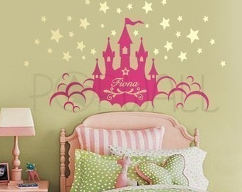 Princess castle wall decals cinderella magical stickers with for Castle wall mural sticker