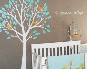 Art Wall Sticker Wall Decal Tree Decal  - Garden Tree with Birds Nursery Decal( Large) - 056