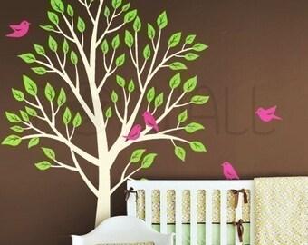 Garden Tree Wall decal , Nursery Wall decal , Bird wall decal ,Wall Sticker, Wall decor, Home Decor- 056
