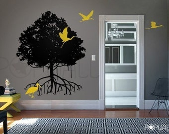 Mangrove tree wall decal and Storks wall decal, birds, nature wall decals wall sticker  - 059