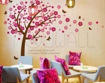 Vinyl Wall Decal Wall Sticker Nursery Decal -Windy Flowery Tree Decal with Butterflies - 094 -
