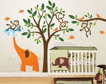 Tree, children, nursery, kid, branch - Monkeys & elephant Wall decal Wall sticker- home decor  105