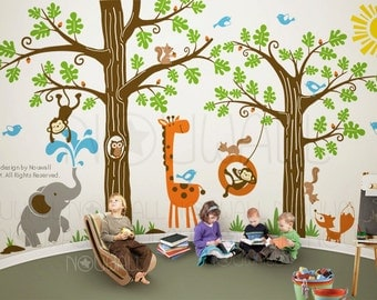 Kid Playroom Wall Decal - Woodland Tree Animal, monkey ,giraffe, elephant Wall Decal Wall Sticker