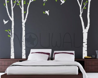 Art Tree Wall Sticker Wall Decals Tree Decal  New forest Trees  - 101in set of 3 trees