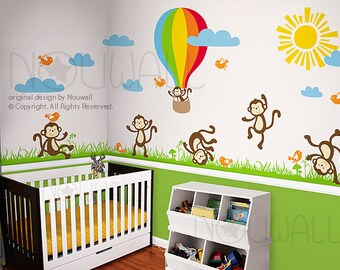 Wall Decal Wall Sticker Nursery Decal -Monkey, hot air balloon wall decal